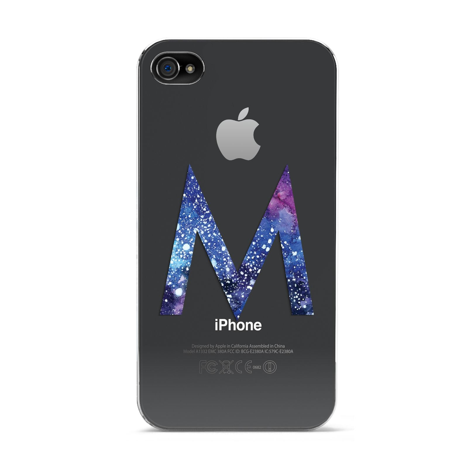Personalised Blue Space Initial Clear Custom Apple iPhone 4s Case