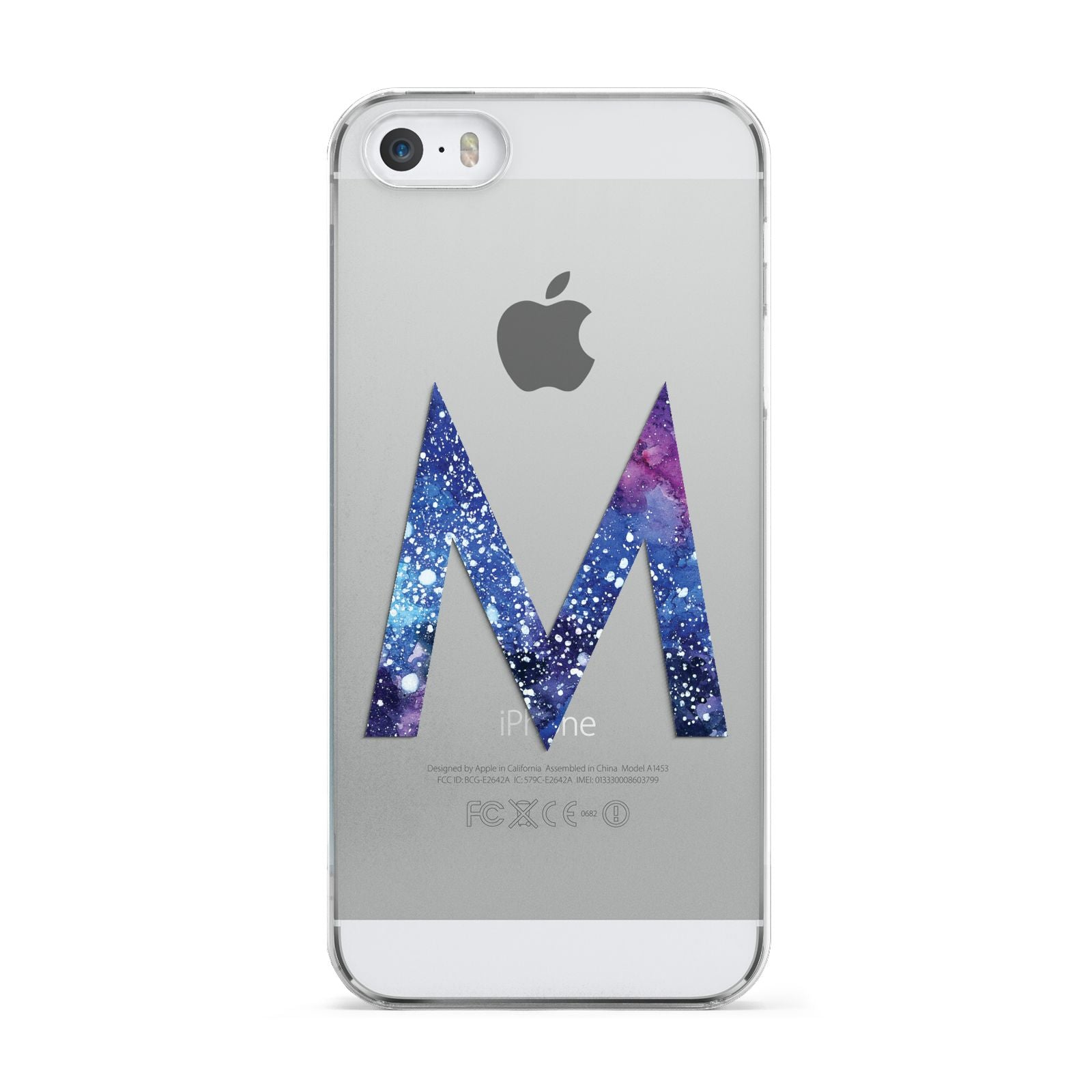 Personalised Blue Space Initial Clear Custom Apple iPhone 5 Case