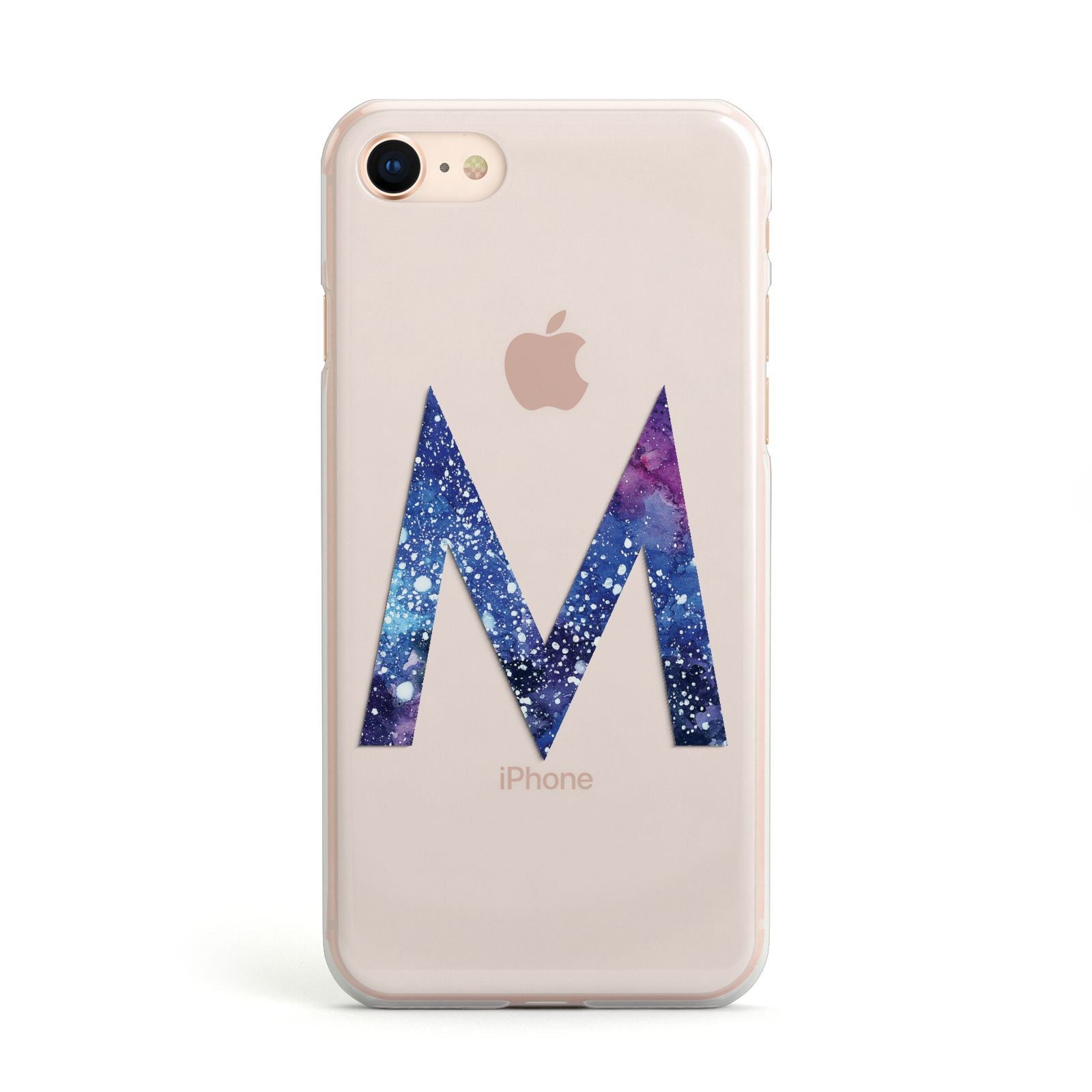 Personalised Blue Space Initial Clear Custom Apple iPhone Case