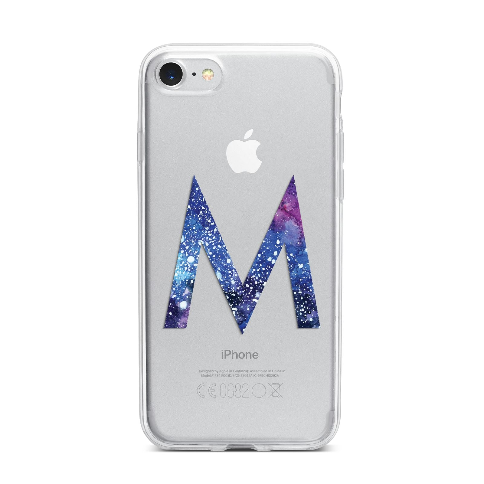 Personalised Blue Space Initial Clear Custom iPhone 7 Bumper Case on Silver iPhone