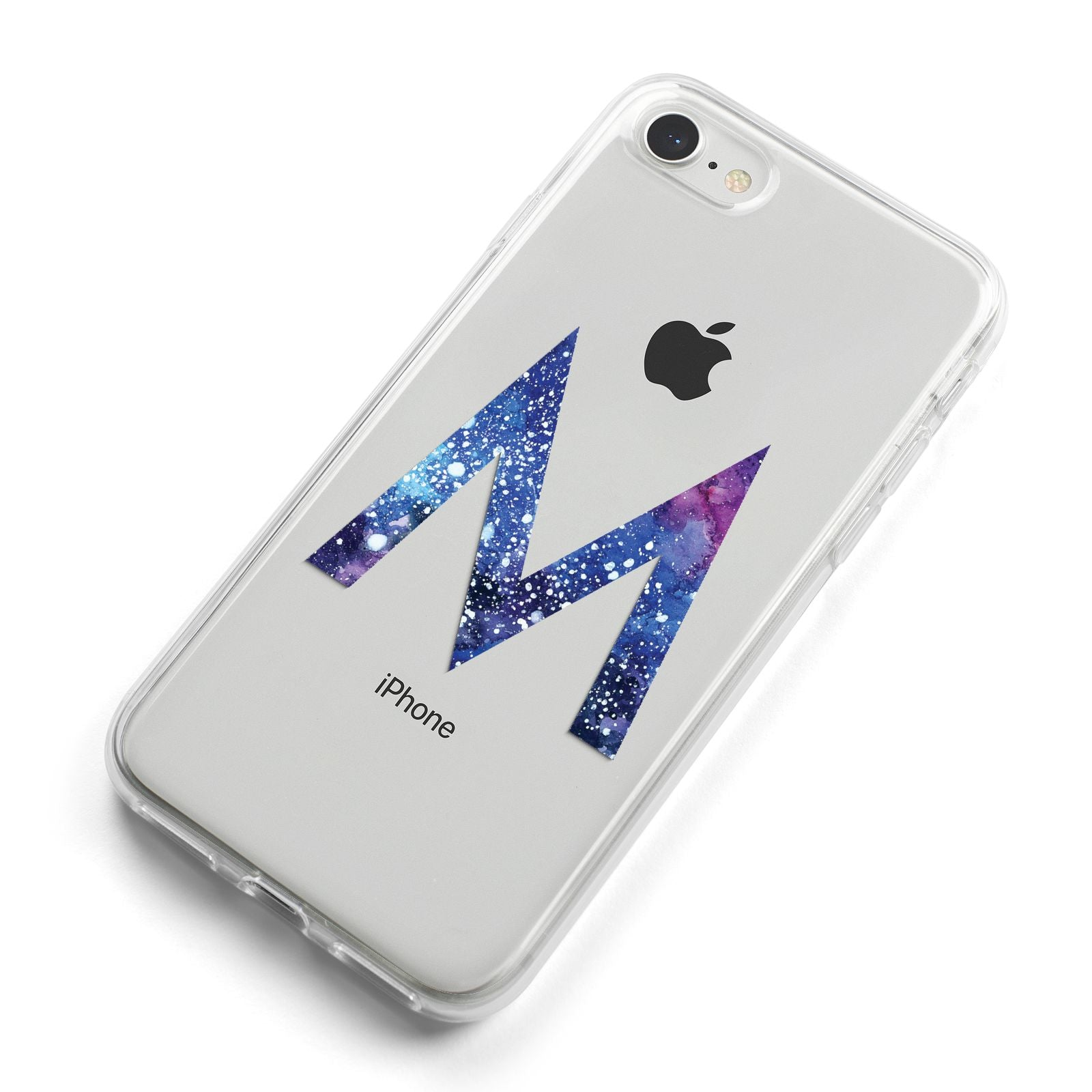 Personalised Blue Space Initial Clear Custom iPhone 8 Bumper Case on Silver iPhone Alternative Image