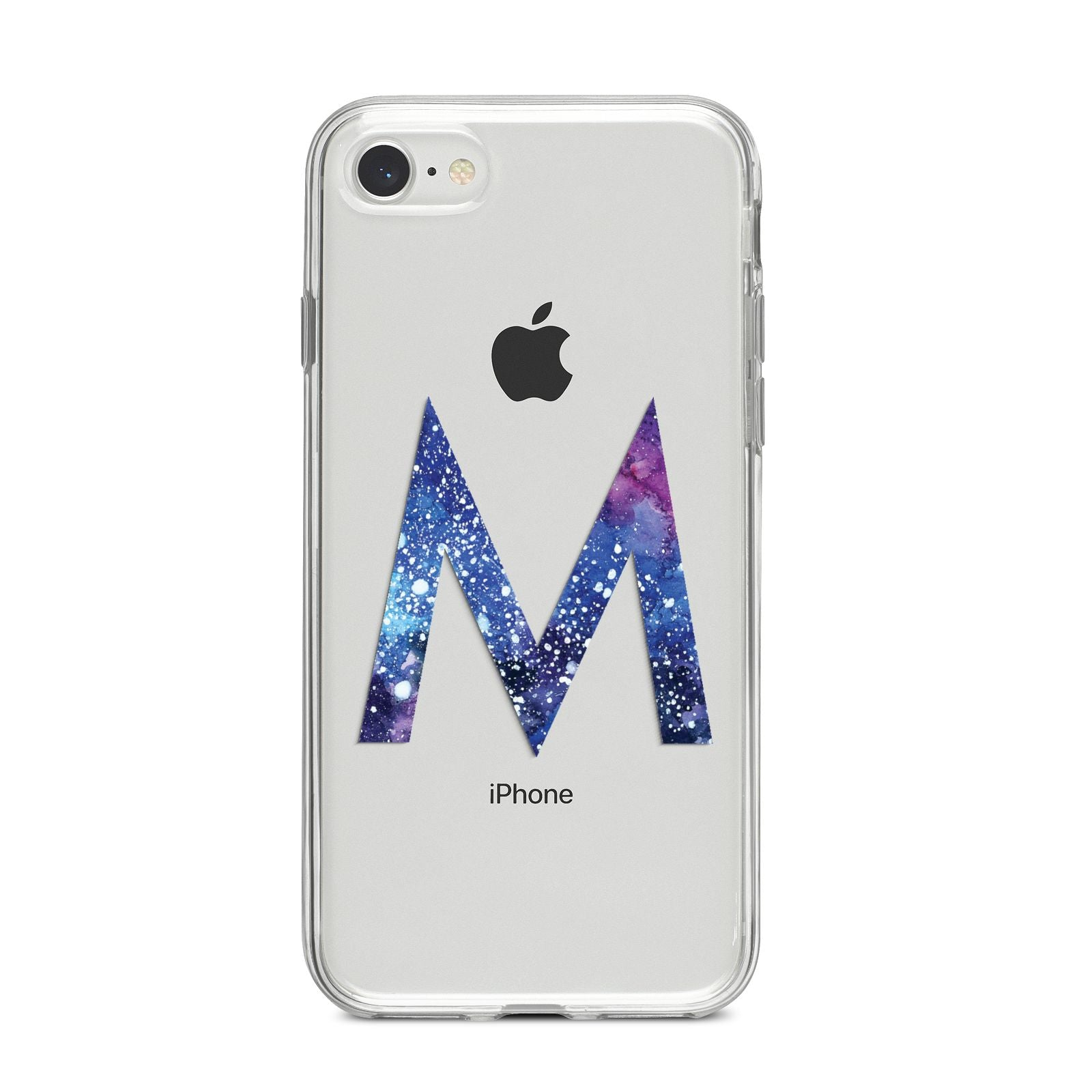 Personalised Blue Space Initial Clear Custom iPhone 8 Bumper Case on Silver iPhone