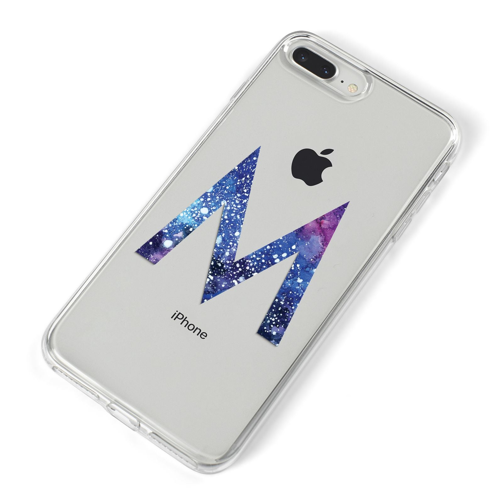 Personalised Blue Space Initial Clear Custom iPhone 8 Plus Bumper Case on Silver iPhone Alternative Image