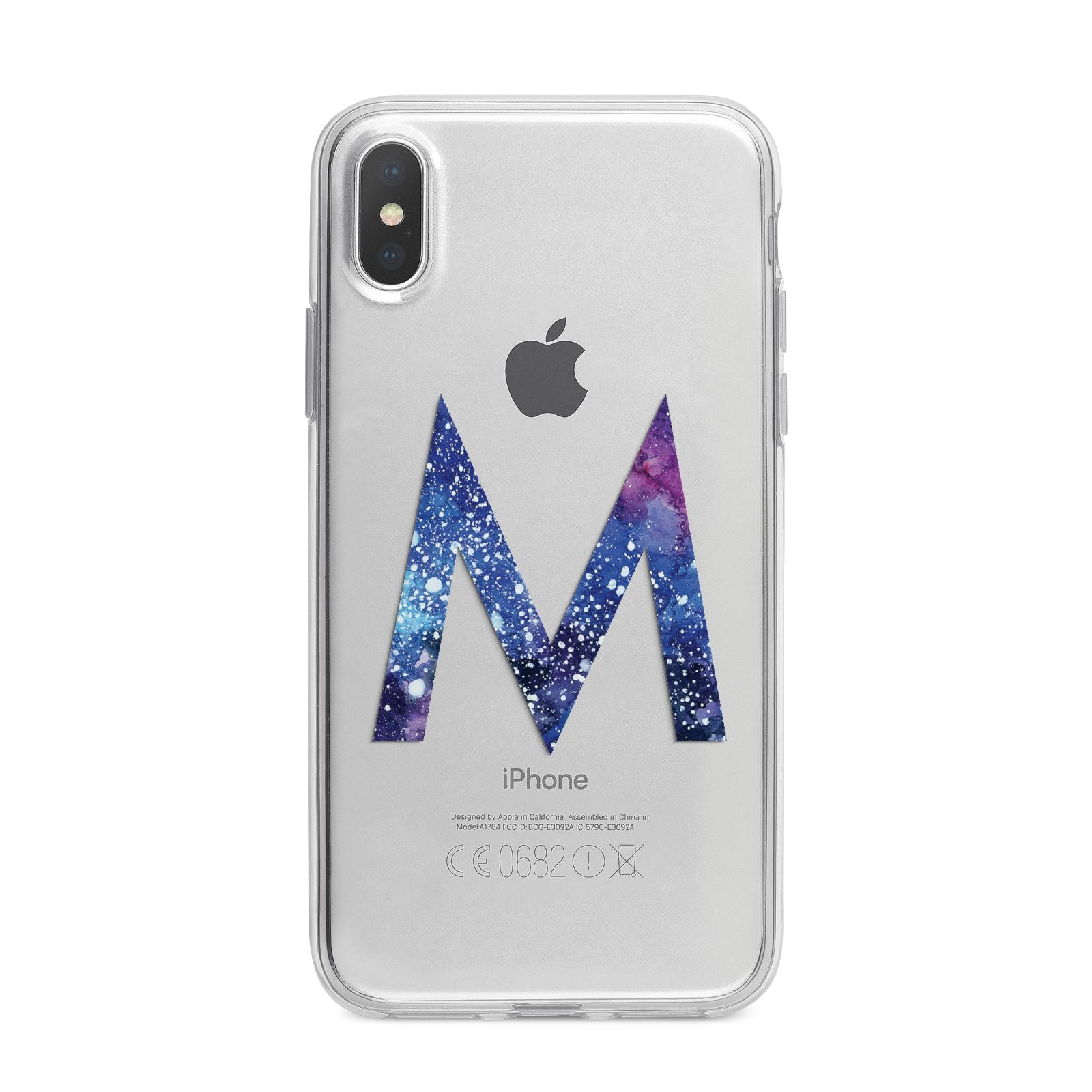 Personalised Blue Space Initial Clear Custom iPhone X Bumper Case on Silver iPhone Alternative Image 1