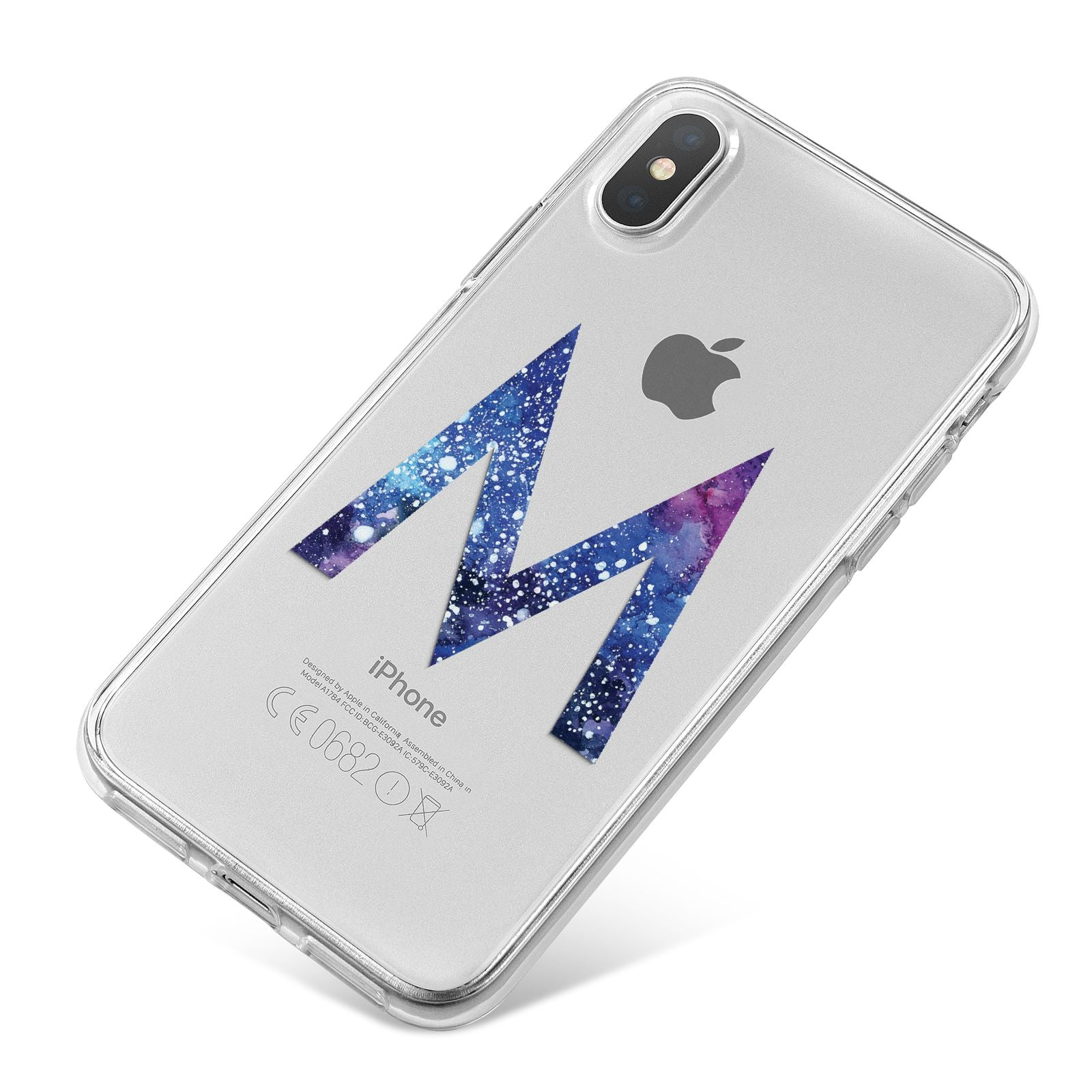 Personalised Blue Space Initial Clear Custom iPhone X Bumper Case on Silver iPhone