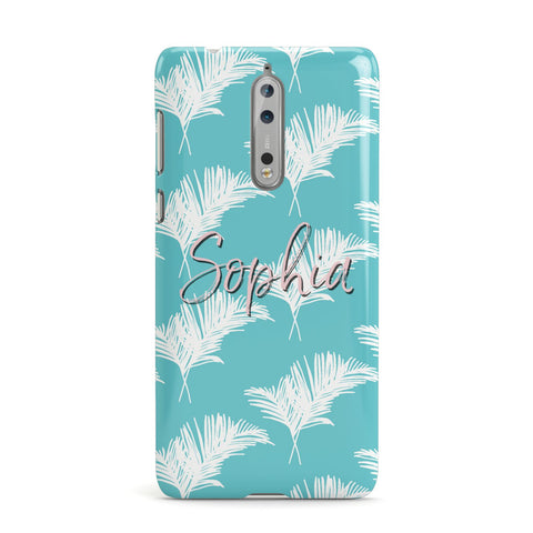 Personalised Blue & White Tropical Foliage Nokia Case