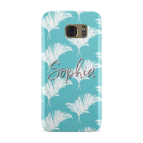 Personalised Blue & White Tropical Foliage Samsung Galaxy Case