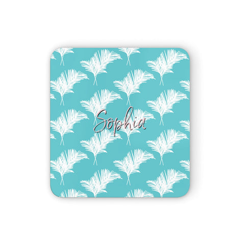 Personalised Blue & White Tropical Foliage Coasters set of 4