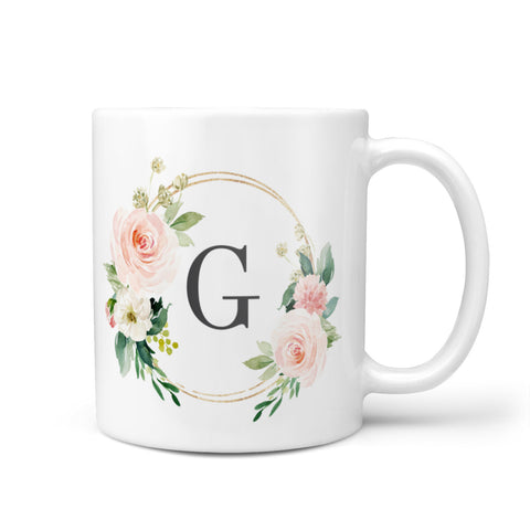 Personalised Blush Floral Wreath Mug