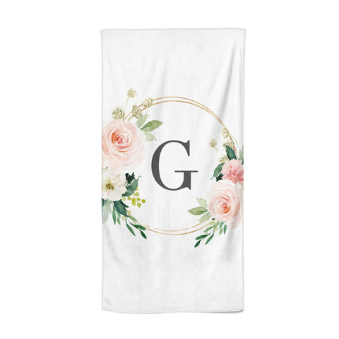 Personalised Blush Floral Wreath Beach Towel
