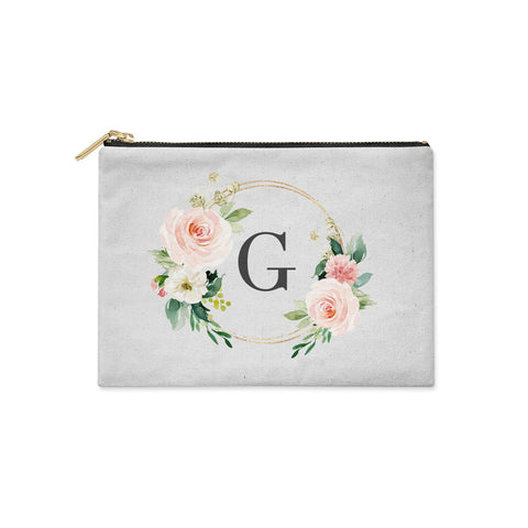 Personalised Blush Floral Wreath Clutch Bag