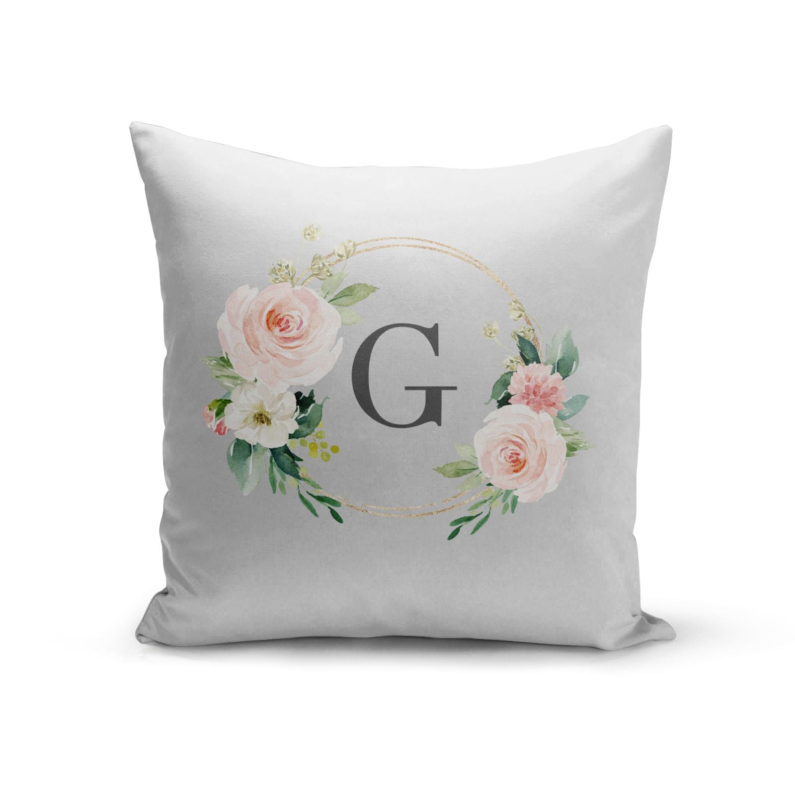 Personalised Blush Floral Wreath Cotton Cushion