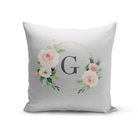 Personalised Blush Floral Wreath Cushion