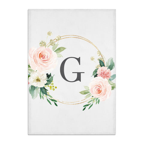 Personalised Blush Floral Wreath Tea Towel