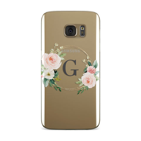 Personalised Blush Floral Wreath Samsung Galaxy Case
