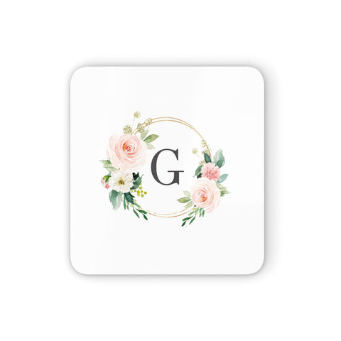 Personalised Blush Floral Wreath Coasters set of 4