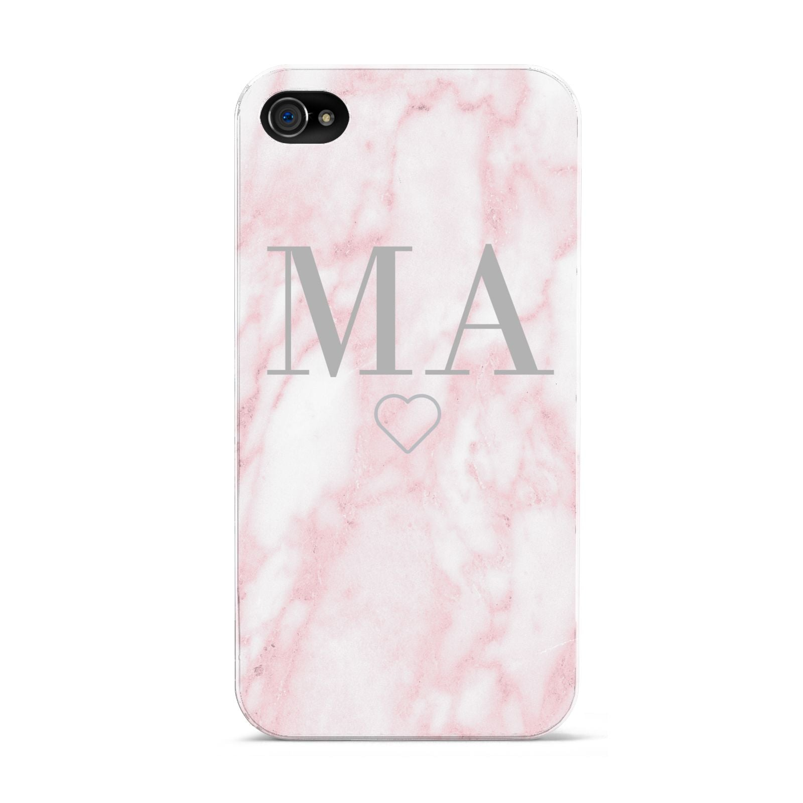 Personalised Blush Marble Initials Apple iPhone 4s Case