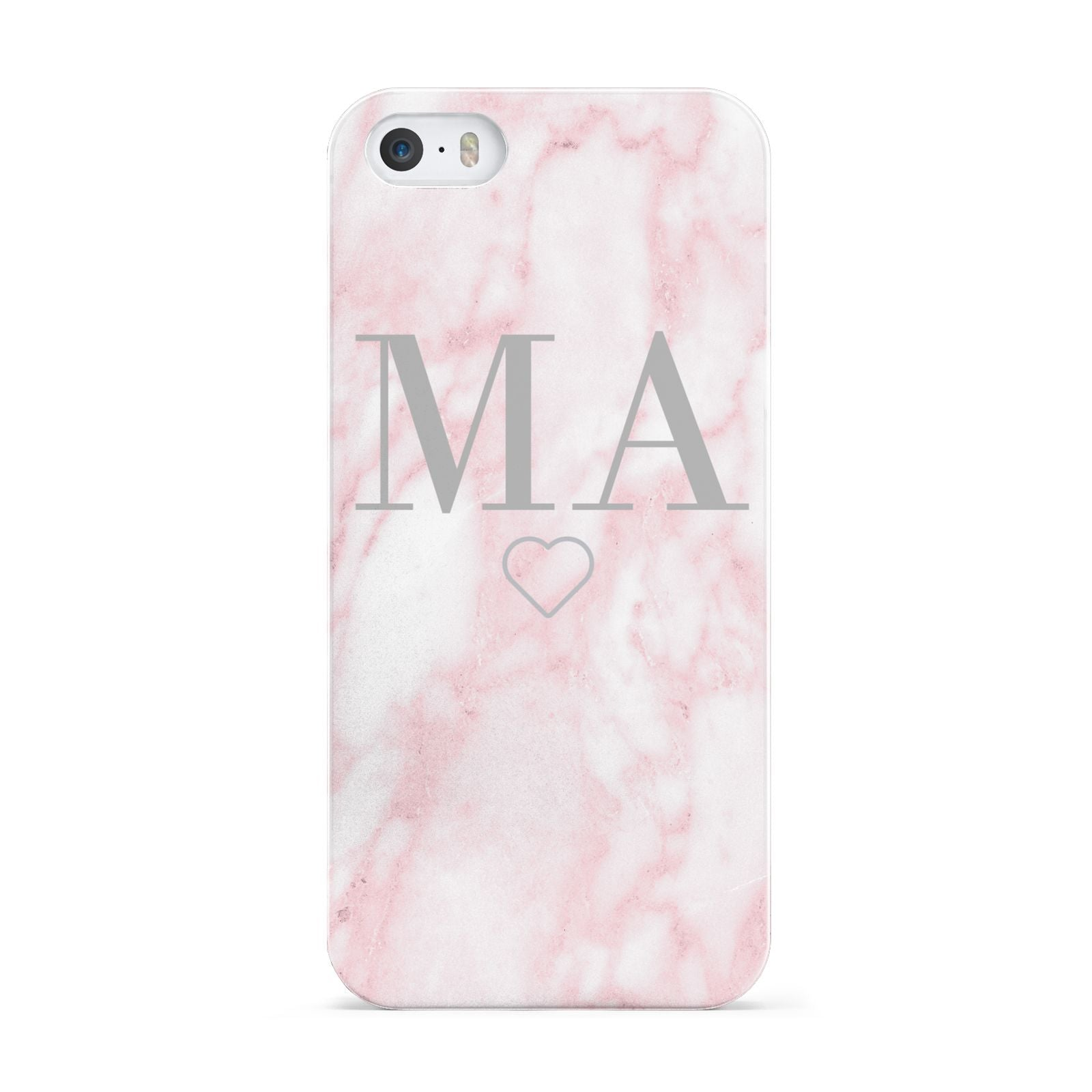 Personalised Blush Marble Initials Apple iPhone 5 Case