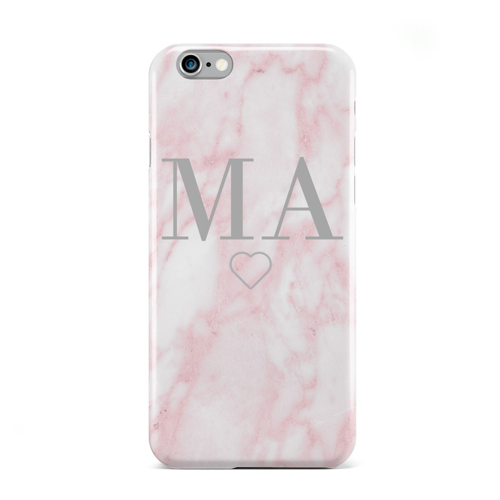 Personalised Blush Marble Initials Apple iPhone 6 Case