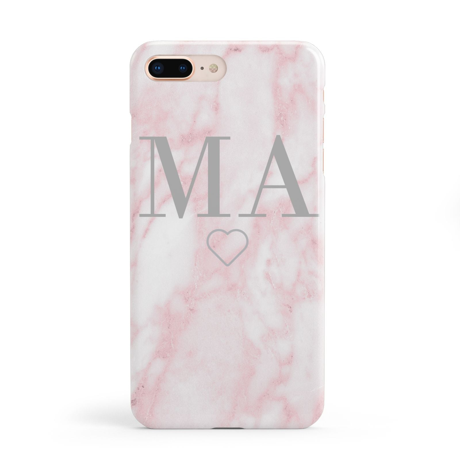 Personalised Blush Marble Initials Apple iPhone 8 Plus Case