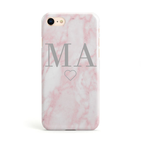 Pink Marble Monogram Personalised Apple iPhone Case