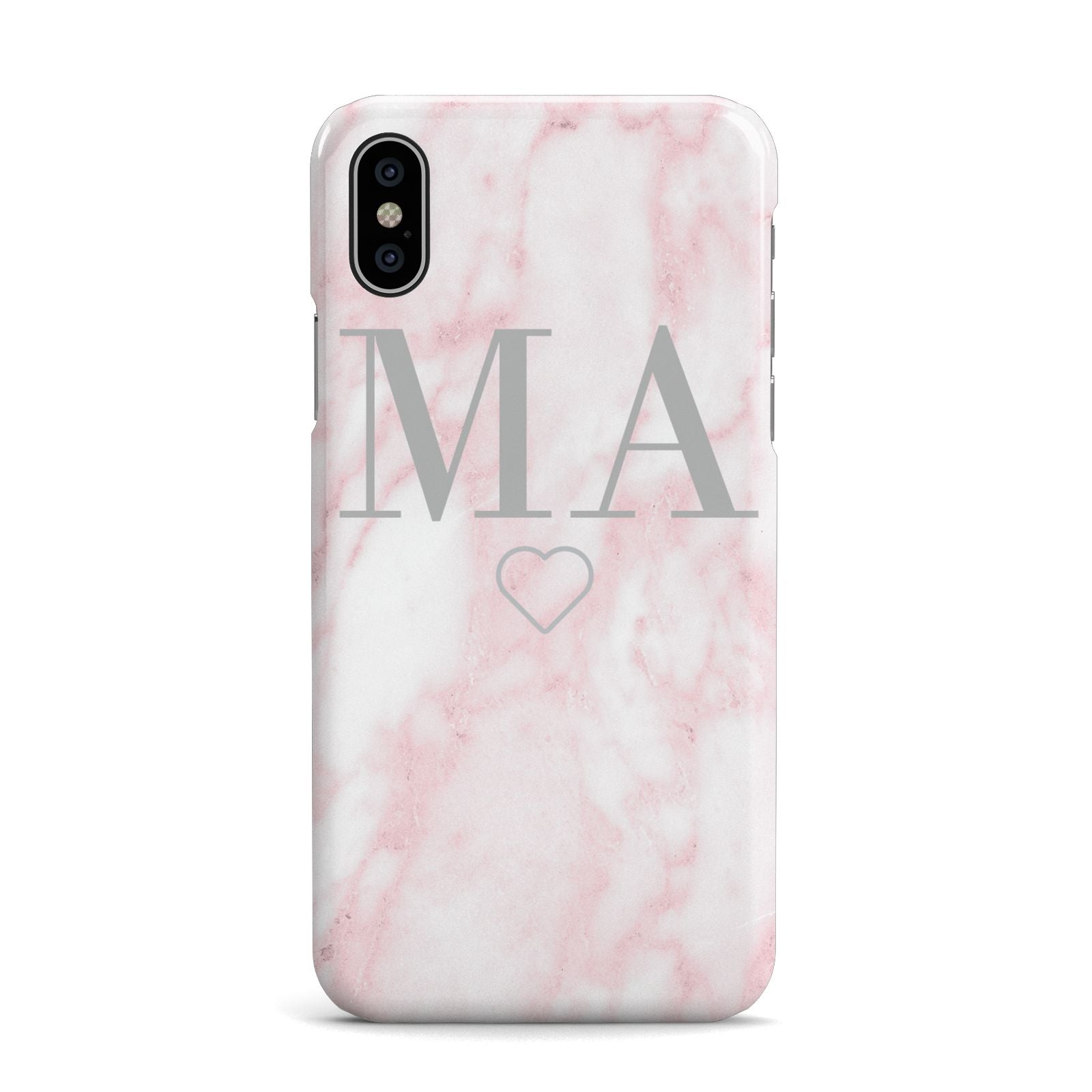 Personalised Blush Marble Initials Apple iPhone X Case