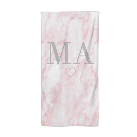 Personalised Blush Marble Initials Beach Towel