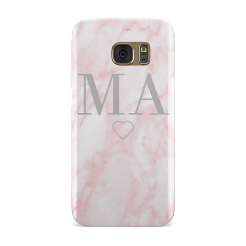 Pink Marble Monogram Personalised Samsung Galaxy Case