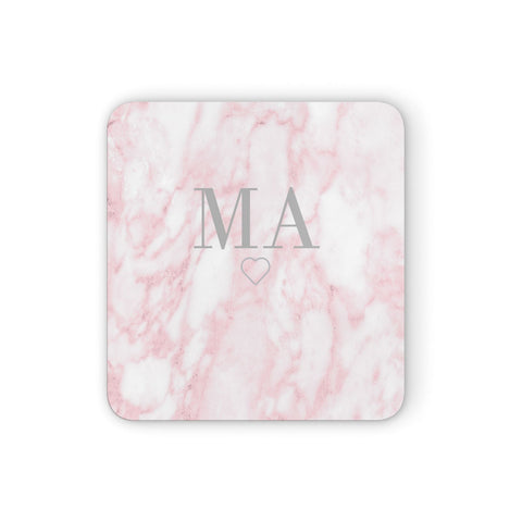 Personalised Blush Marble Initials Coasters set of 4