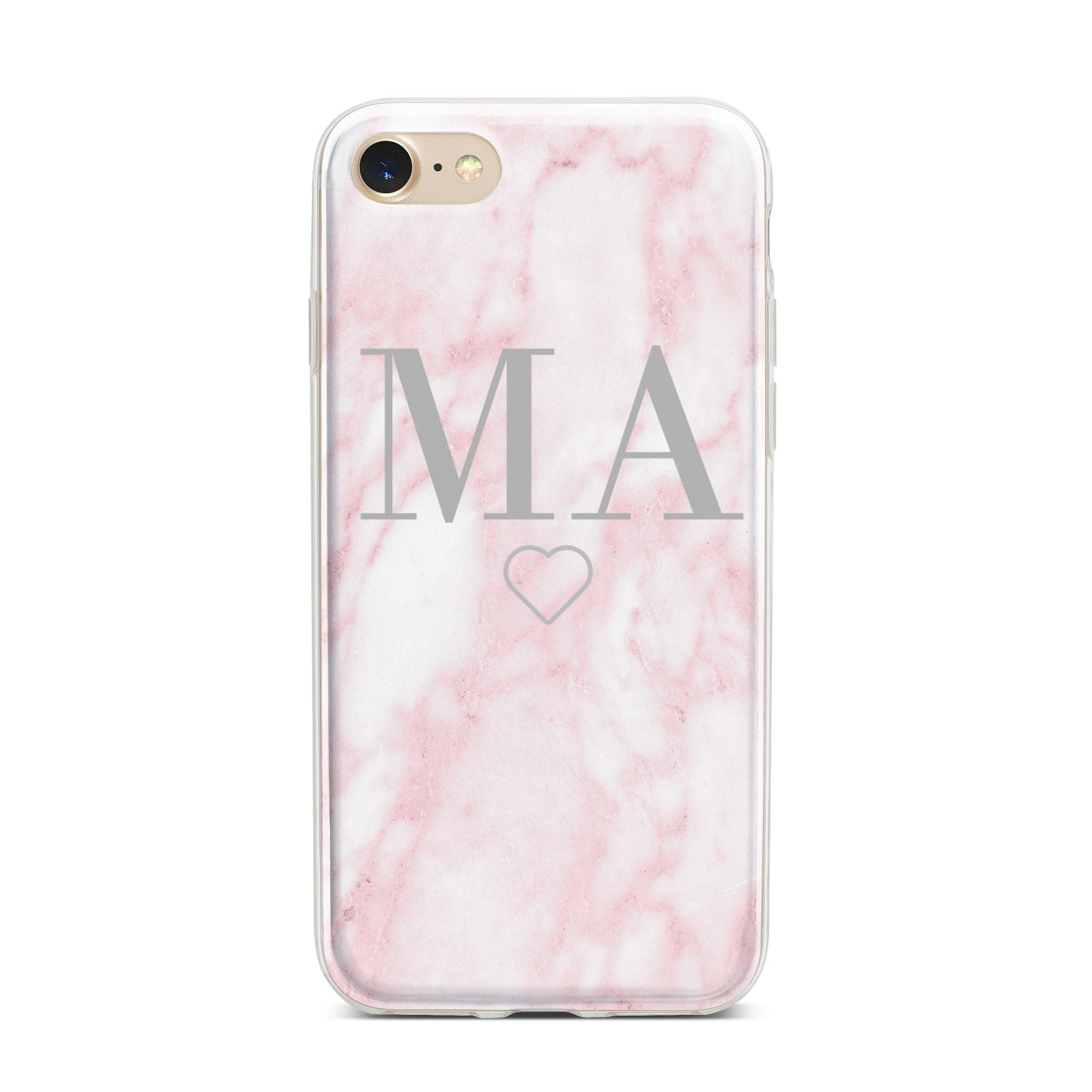Personalised Blush Marble Initials iPhone 7 Bumper Case on Gold iPhone