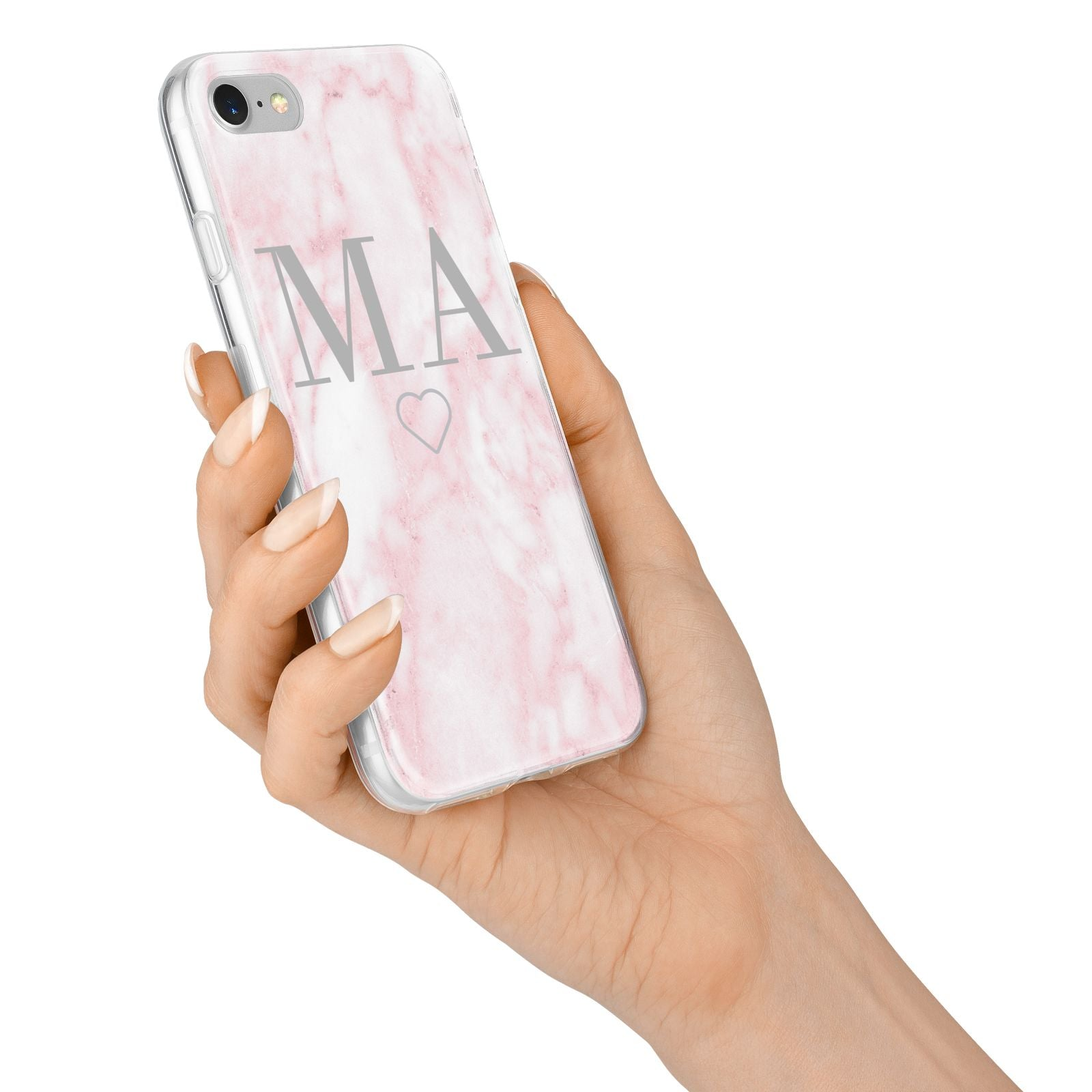 Personalised Blush Marble Initials iPhone 7 Bumper Case on Silver iPhone Alternative Image