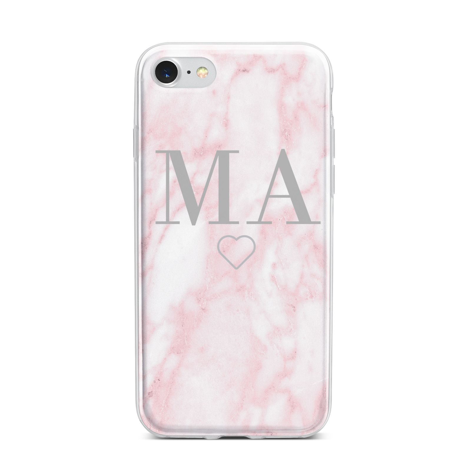 Personalised Blush Marble Initials iPhone 7 Bumper Case on Silver iPhone