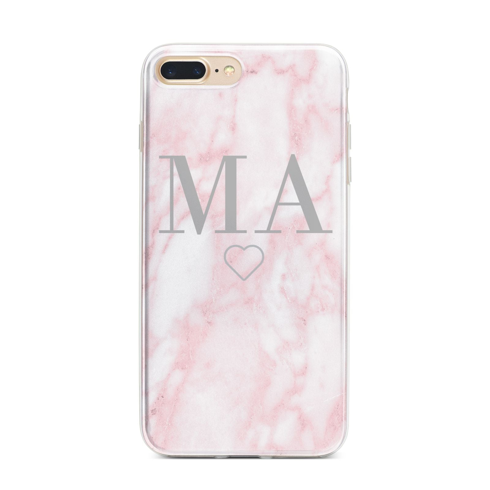 Personalised Blush Marble Initials iPhone 7 Plus Bumper Case on Gold iPhone