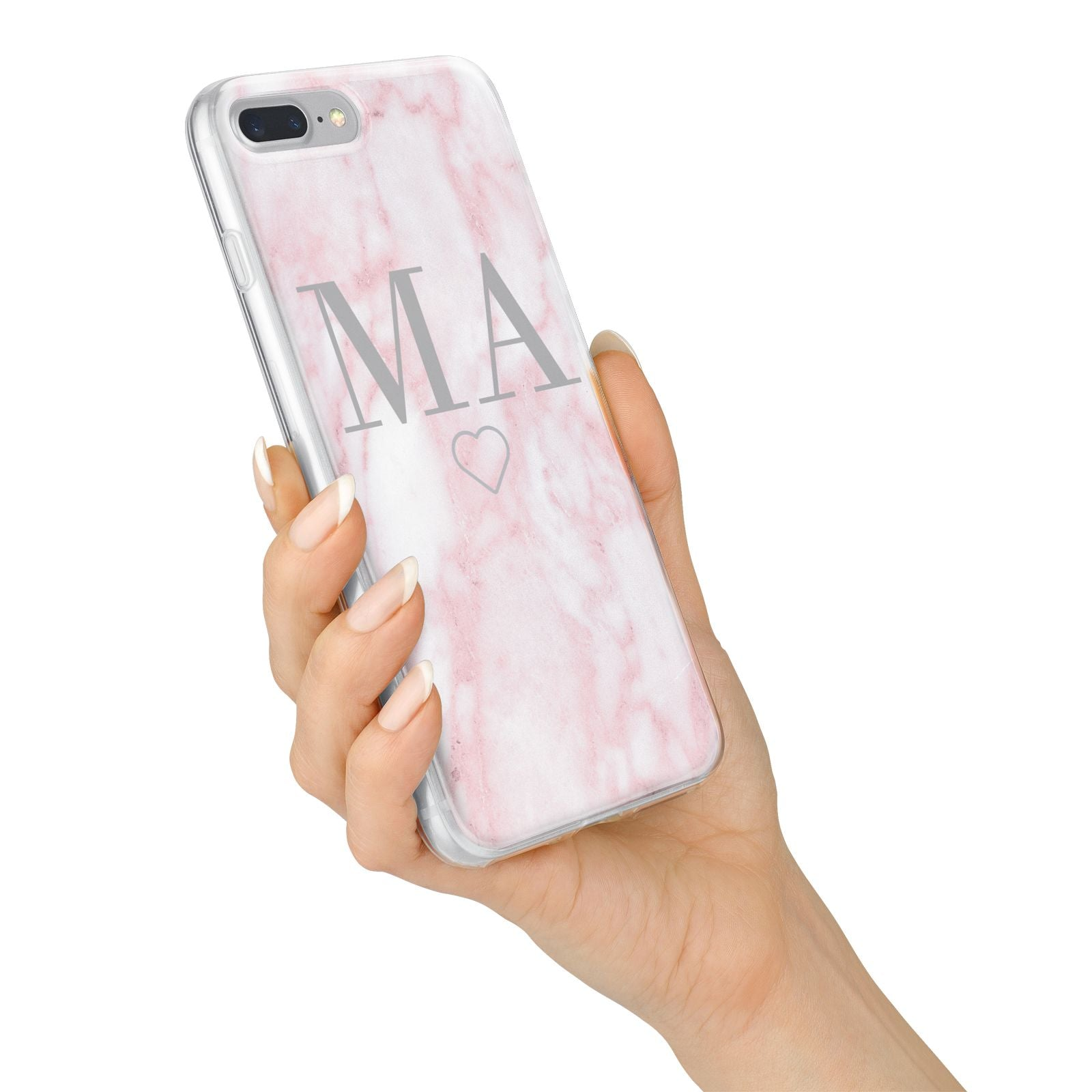 Personalised Blush Marble Initials iPhone 7 Plus Bumper Case on Silver iPhone Alternative Image
