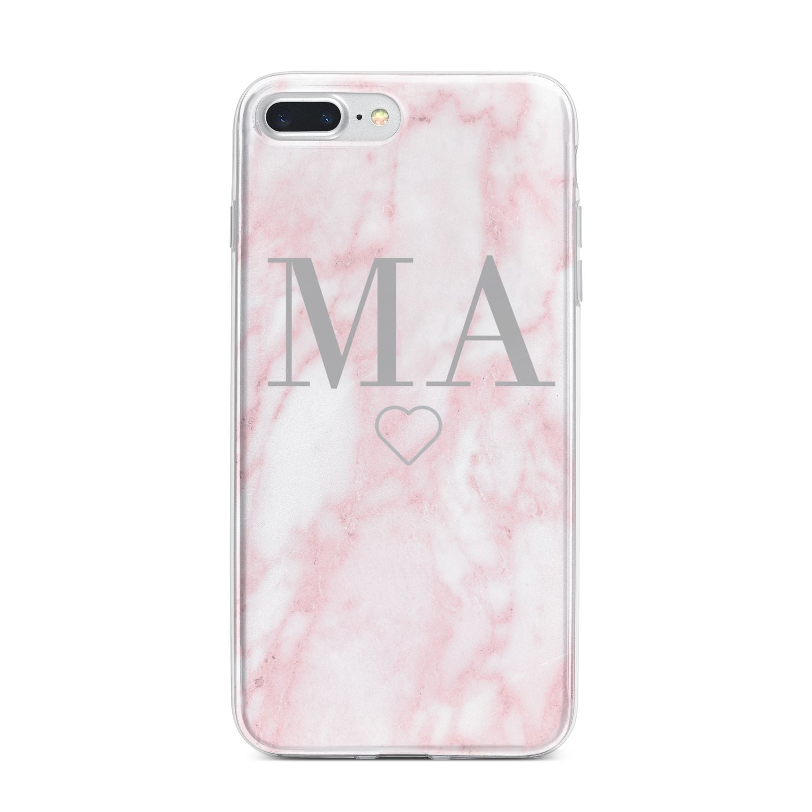 Personalised Blush Marble Initials iPhone 7 Plus Bumper Case on Silver iPhone