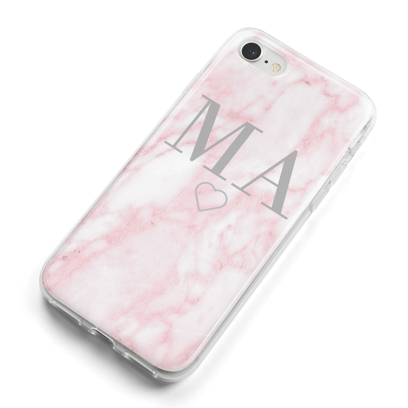 Personalised Blush Marble Initials iPhone 8 Bumper Case on Silver iPhone Alternative Image