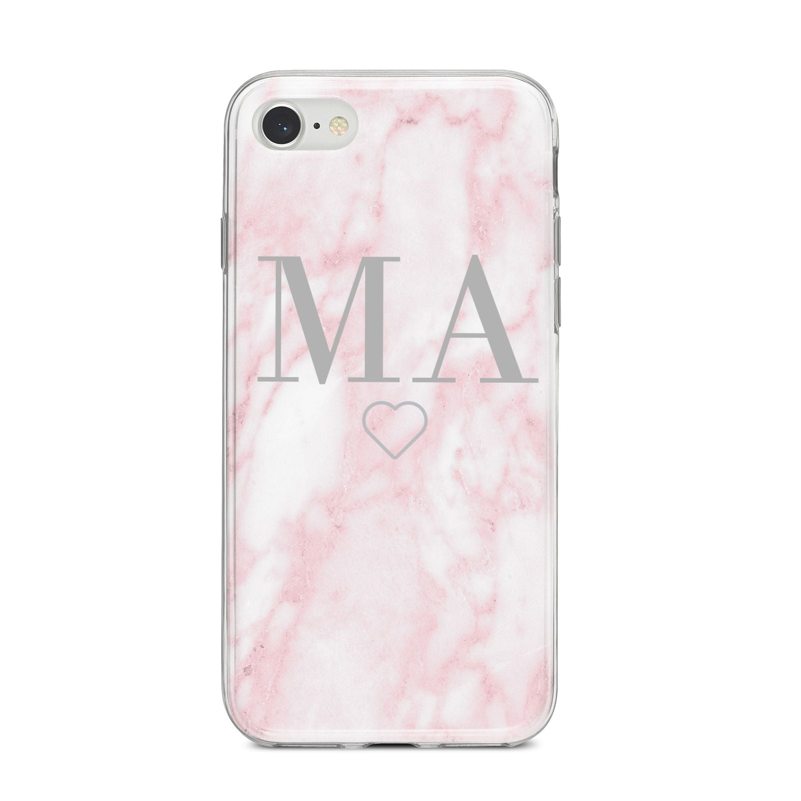 Personalised Blush Marble Initials iPhone 8 Bumper Case on Silver iPhone