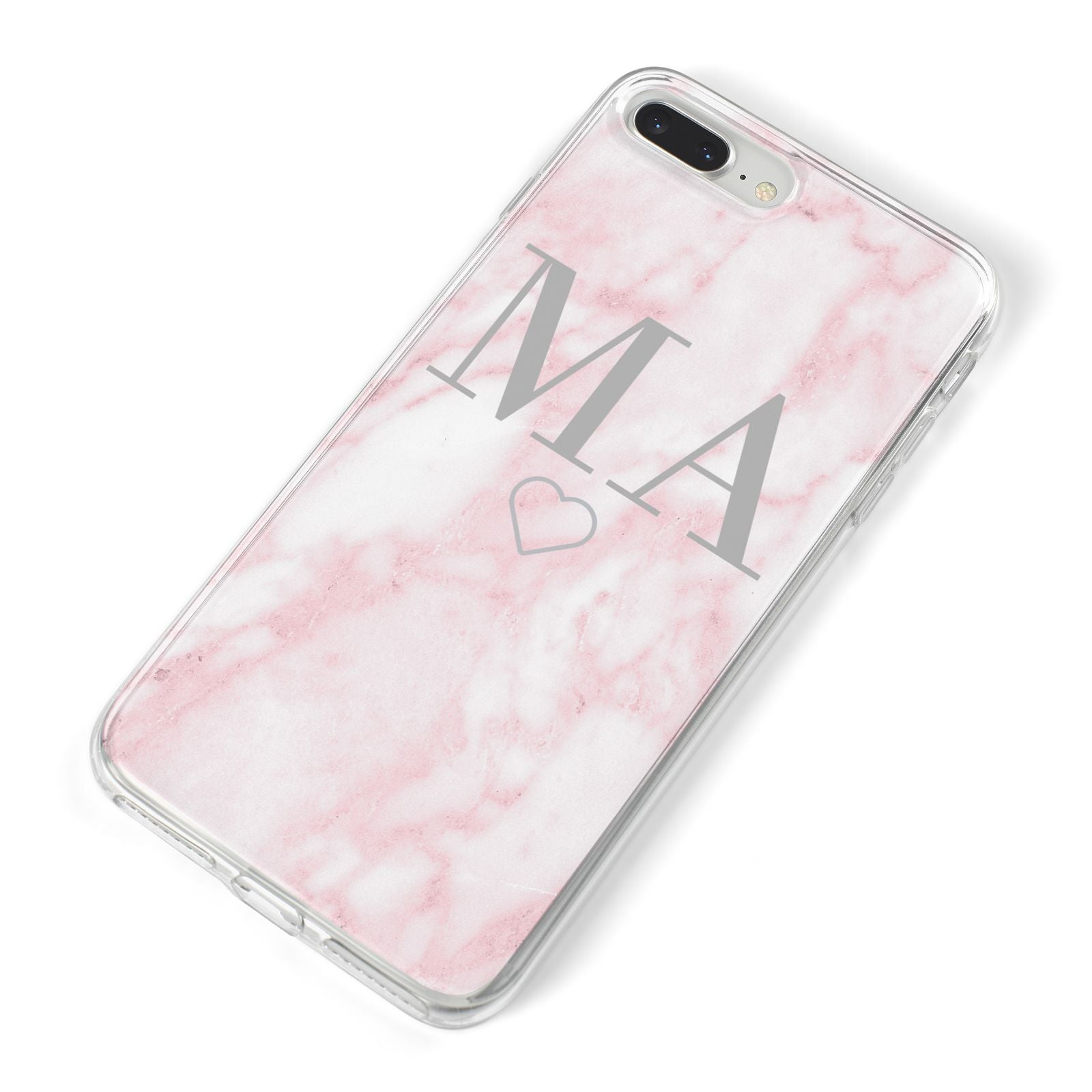 Personalised Blush Marble Initials iPhone 8 Plus Bumper Case on Silver iPhone Alternative Image