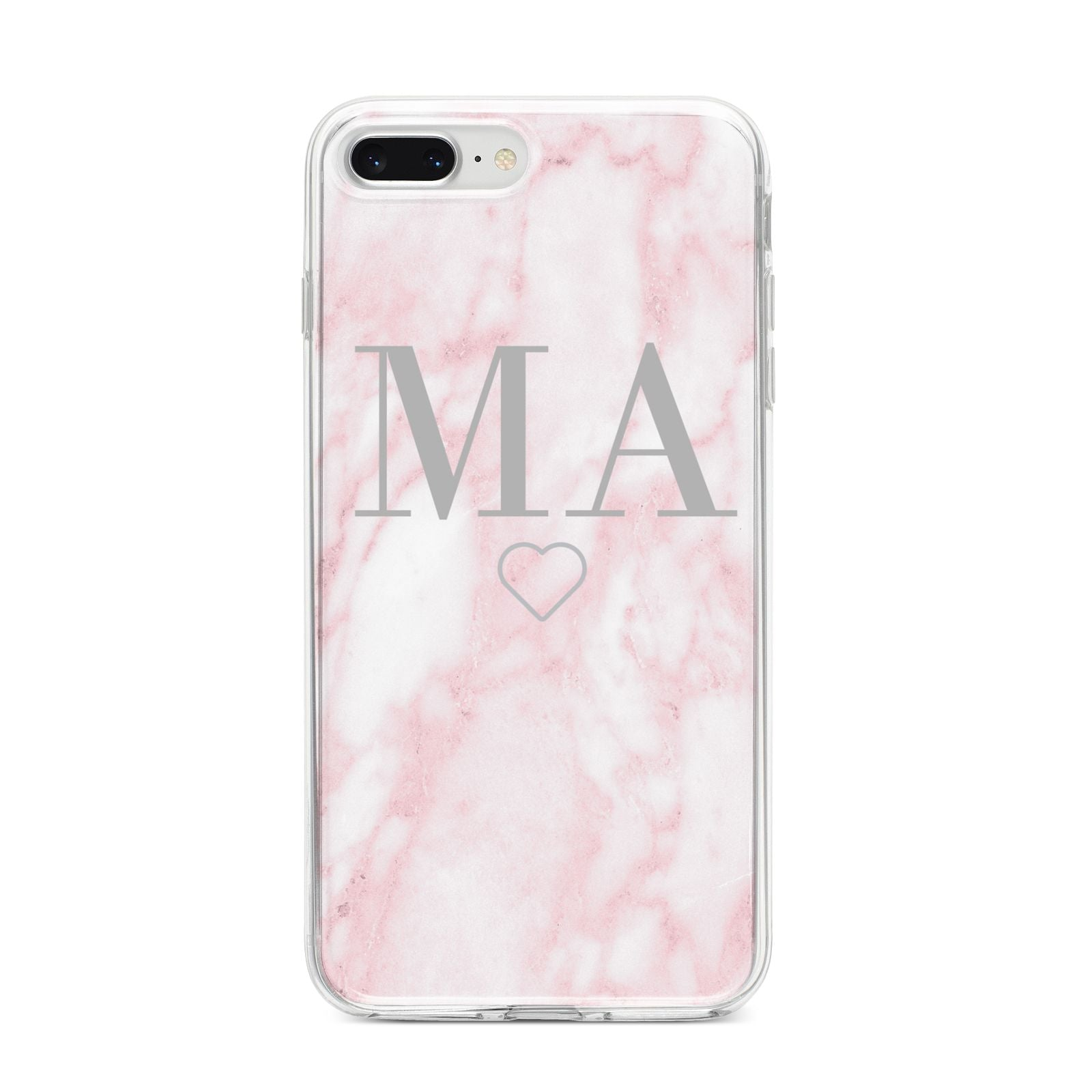 Personalised Blush Marble Initials iPhone 8 Plus Bumper Case on Silver iPhone