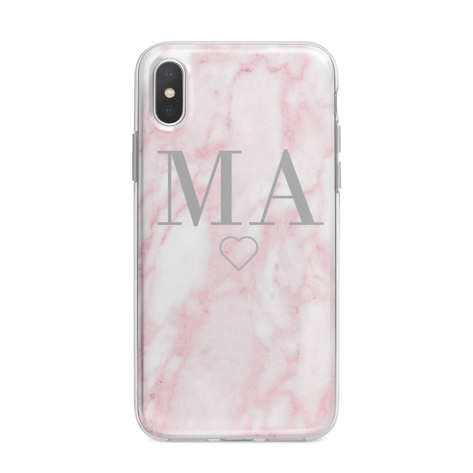 Personalised Blush Marble Initials iPhone X Bumper Case on Silver iPhone Alternative Image 1