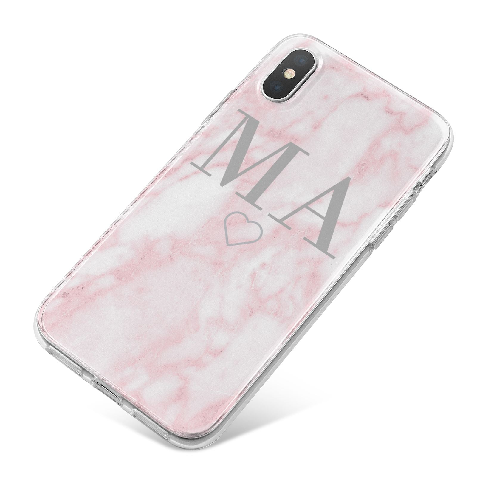 Personalised Blush Marble Initials iPhone X Bumper Case on Silver iPhone