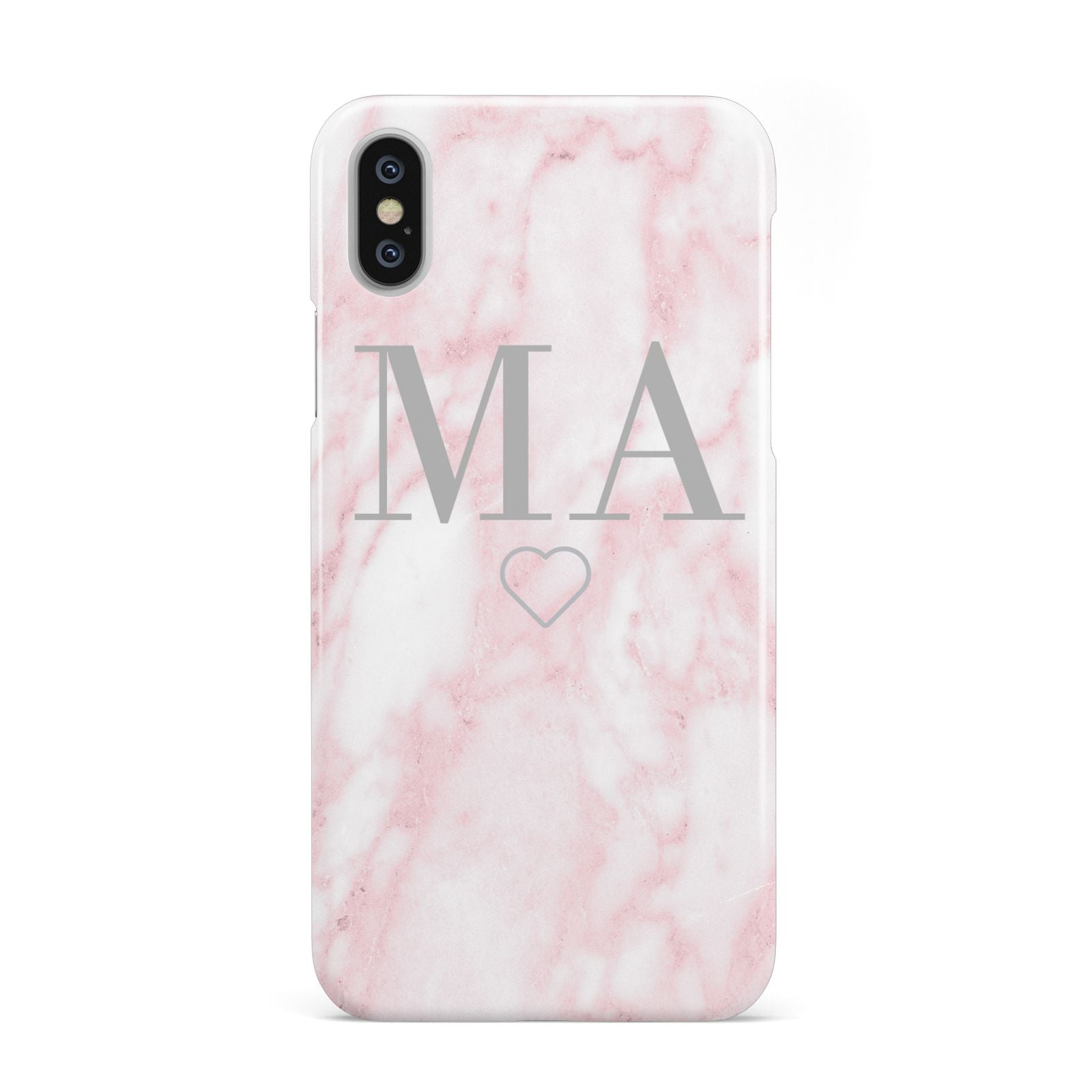 on sale 3b603 6b637 Pink Marble Monogram Personalised Apple iPhone Case