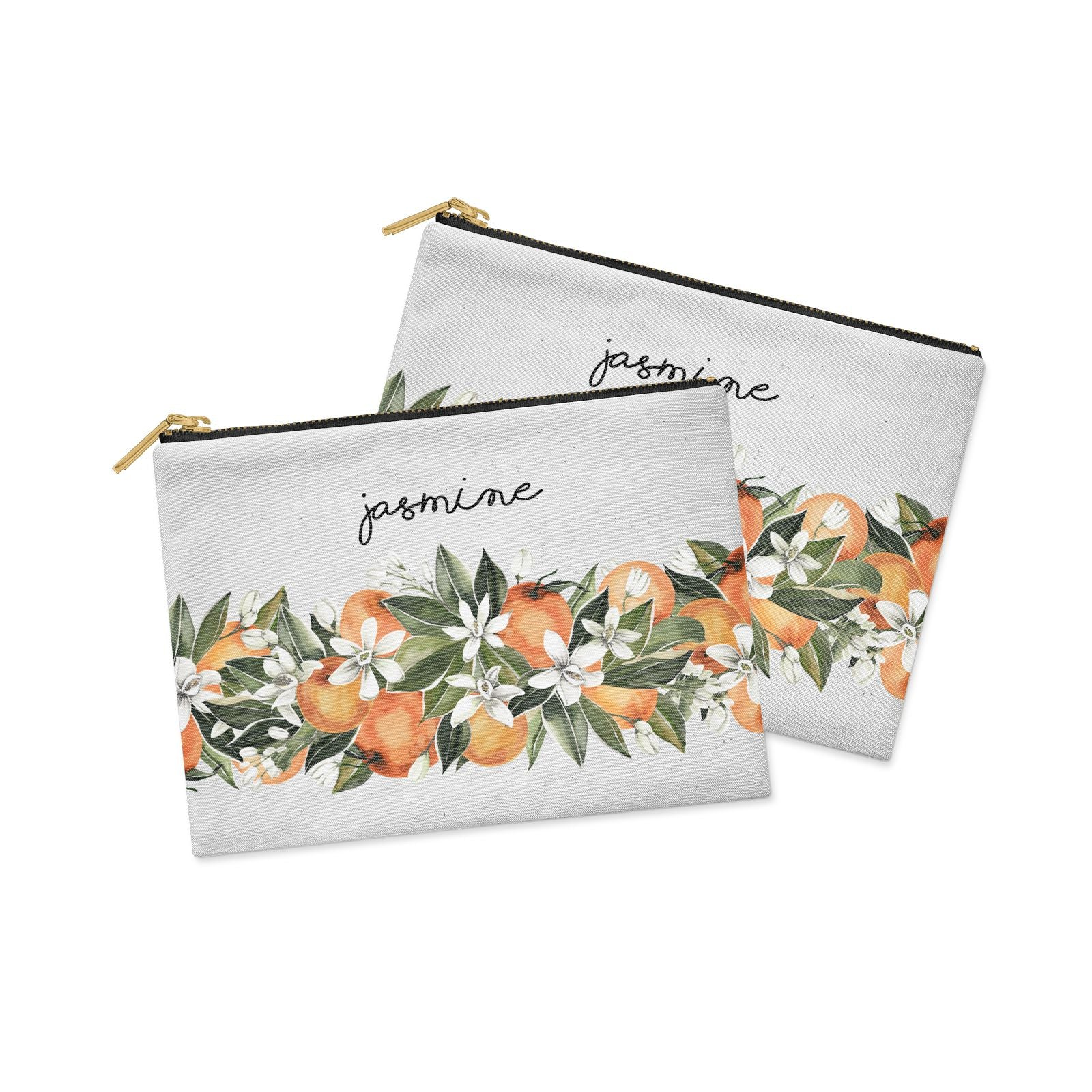 Personalised Bouquet of Oranges Clutch Bag Zipper Pouch Alternative View