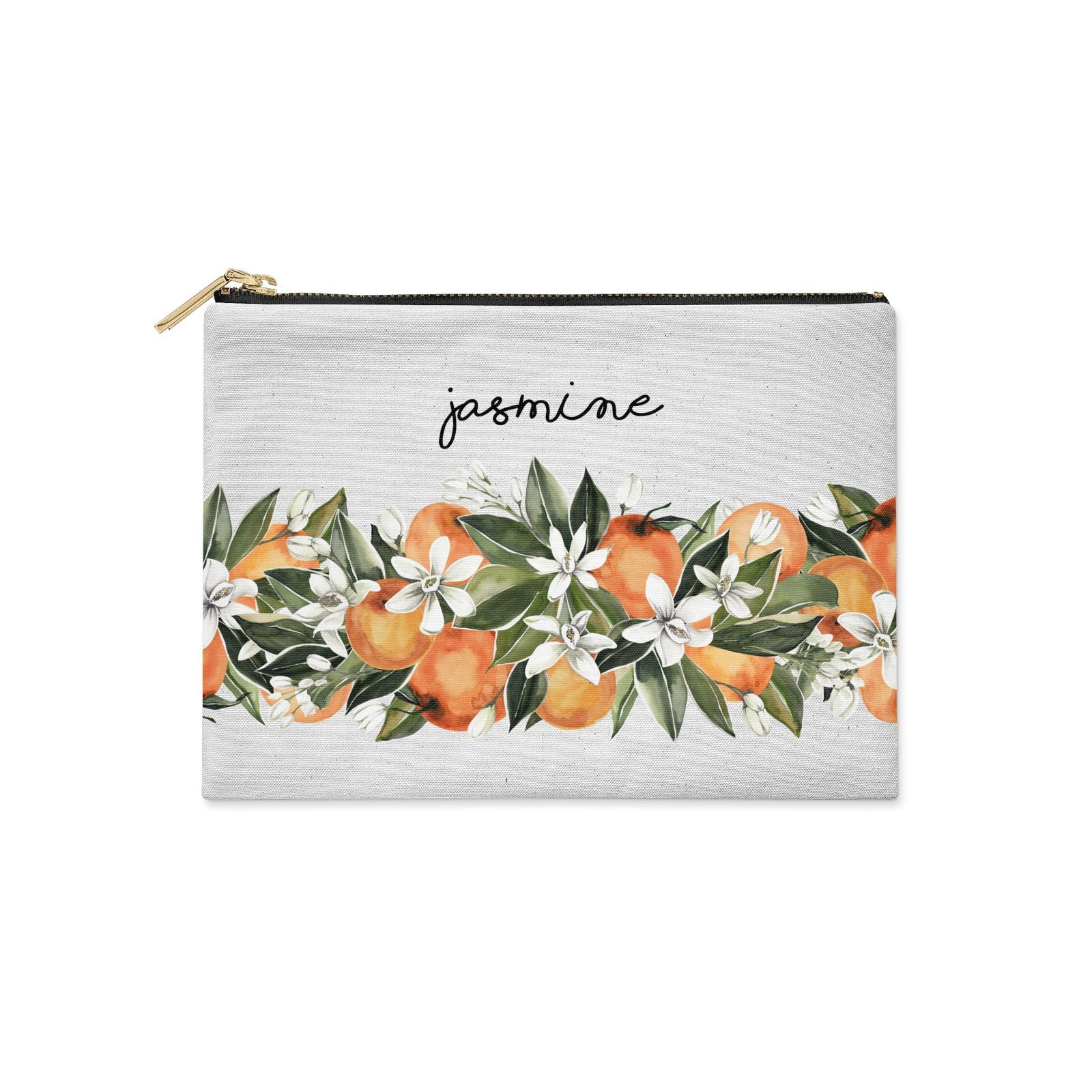 Personalised Bouquet of Oranges Clutch Bag Zipper Pouch