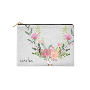 Personalised Bull s Skull Clutch Bag Zipper Pouch