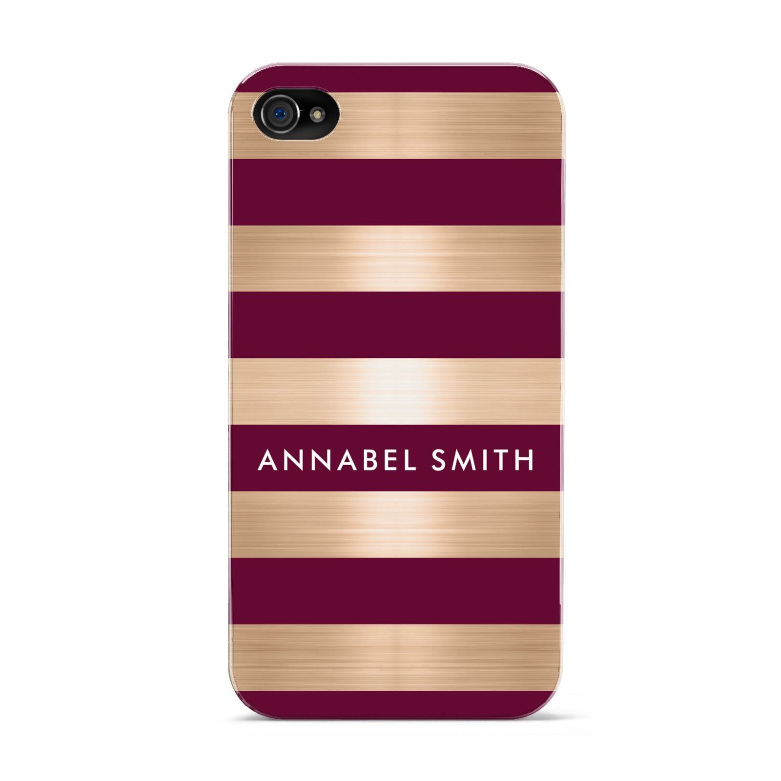 Personalised Burgundy Gold Name Initials Apple iPhone 4s Case