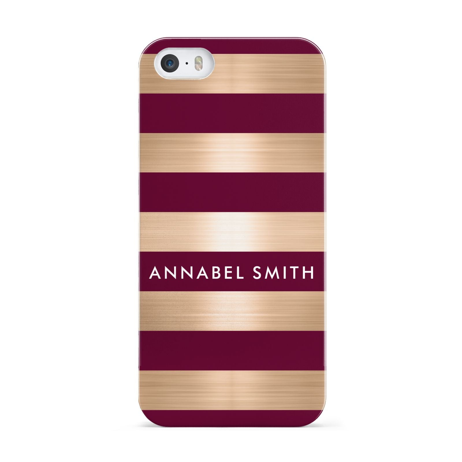 Personalised Burgundy Gold Name Initials Apple iPhone 5 Case