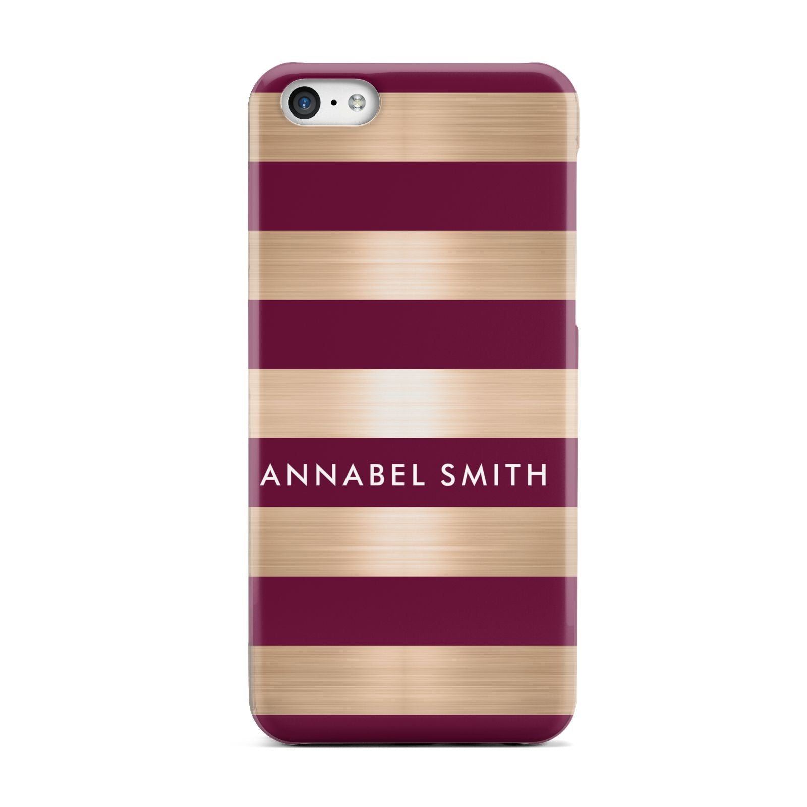 Personalised Burgundy Gold Name Initials Apple iPhone 5c Case