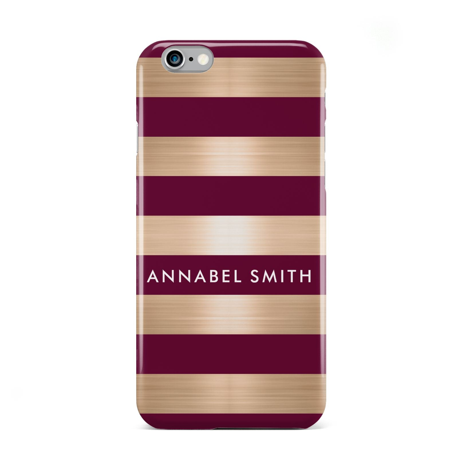 Personalised Burgundy Gold Name Initials Apple iPhone 6 Case