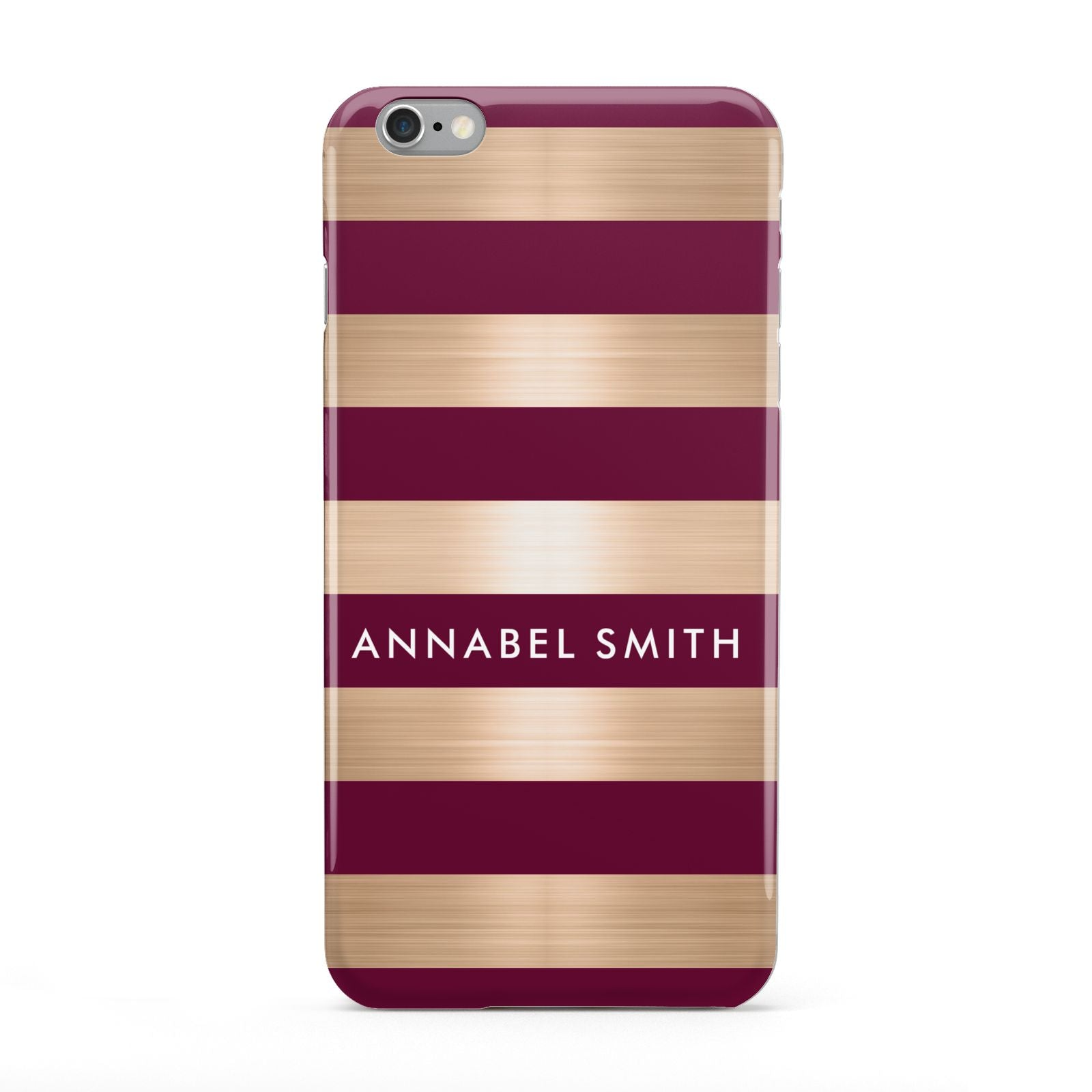 Personalised Burgundy Gold Name Initials Apple iPhone 6 Plus Case
